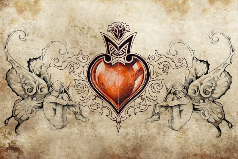 Disegno di arte del tatuaggio, cuore con due crisalidi illustrazione vettoriale