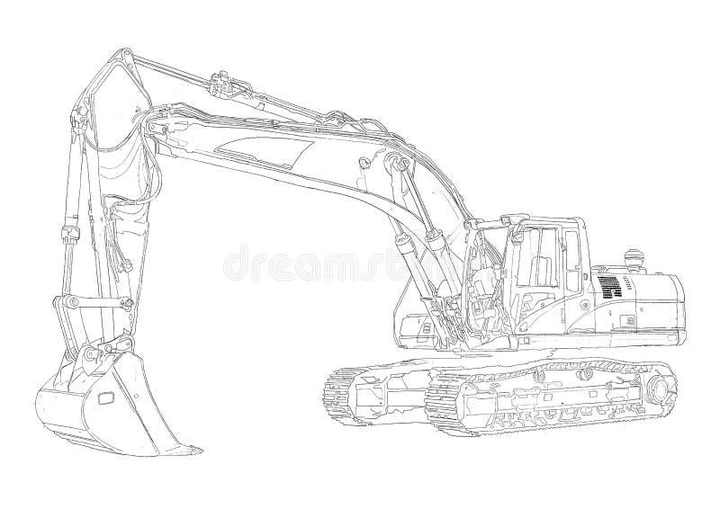 Kleurplaat Bulldozer Disegno Di Arte Isolato Illustrazione Dell Escavatore