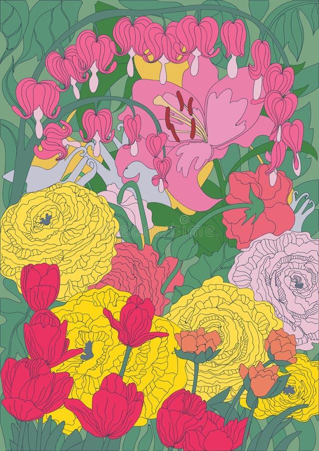 Disegno di bei fiori luminosi del giardino fotografie stock
