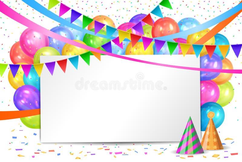 Disegno di buon compleanno Palloni, ghirlande delle bandiere e strato bianco royalty illustrazione gratis
