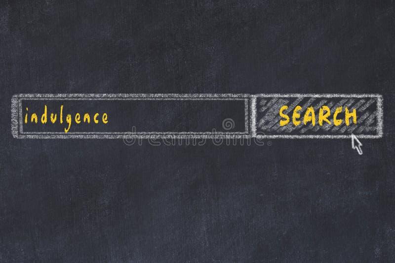Disegno di cartone della finestra del browser di ricerca e indulgenza di iscrizione fotografie stock libere da diritti