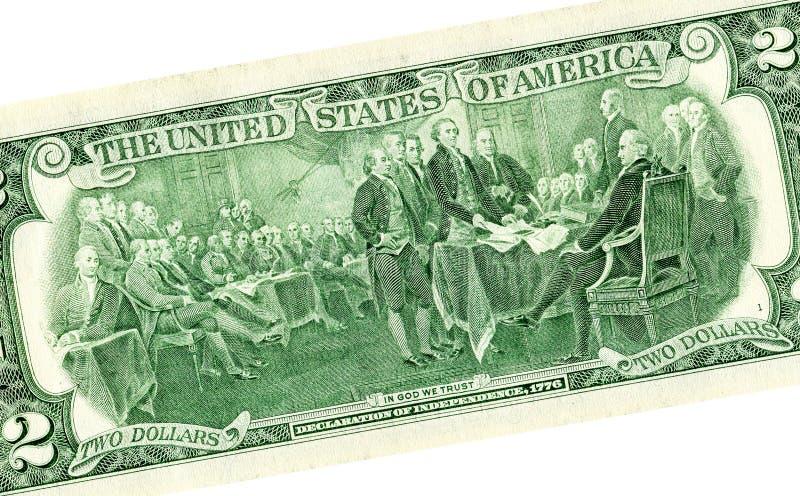 Disegno di dichiarazione di indipendenza dai due dollari fotografie stock libere da diritti