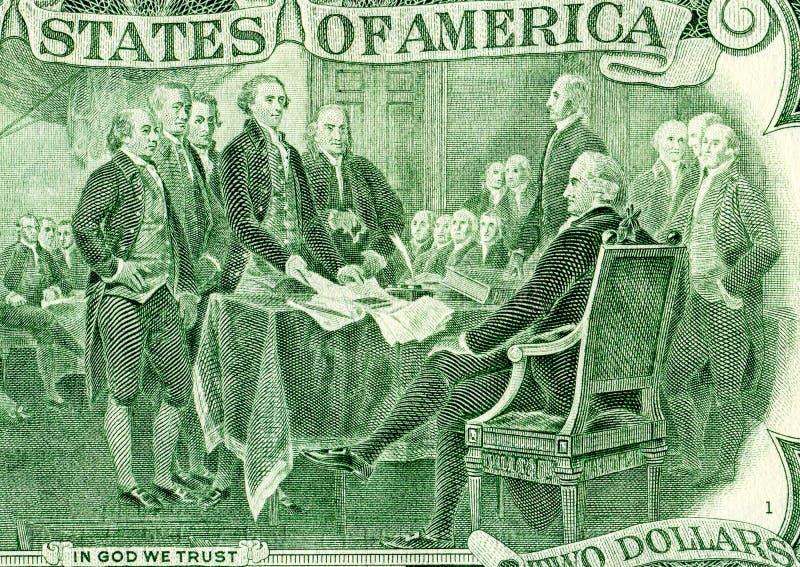 Disegno di dichiarazione di indipendenza dalla banconota di due dollari immagini stock