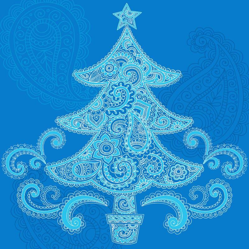 Disegno di Doodle di Paisley del hennè dell'albero di Natale illustrazione vettoriale