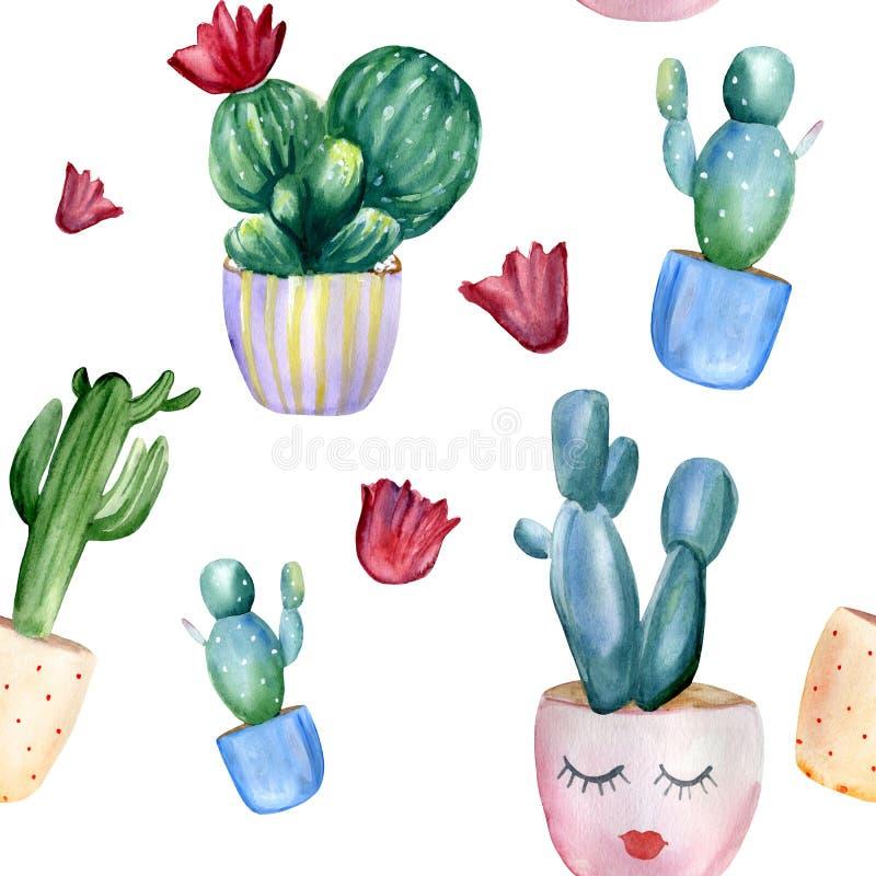 Disegno di filigrana verniciato a mano con diversi cactus nei vasi e nei fiori illustrazione di stock