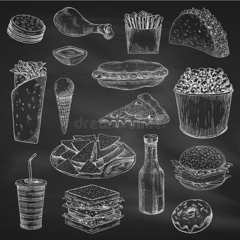 Disegno di gesso degli alimenti a rapida preparazione sulla lavagna illustrazione vettoriale