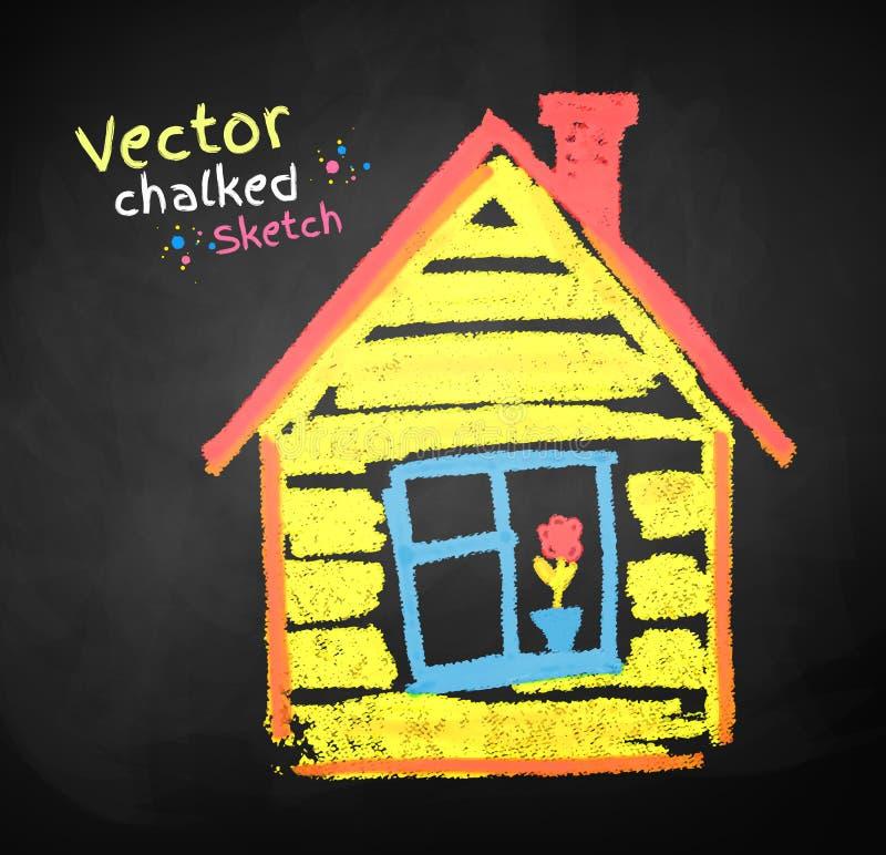 Disegno di gesso della casa illustrazione vettoriale for Disegno della casa