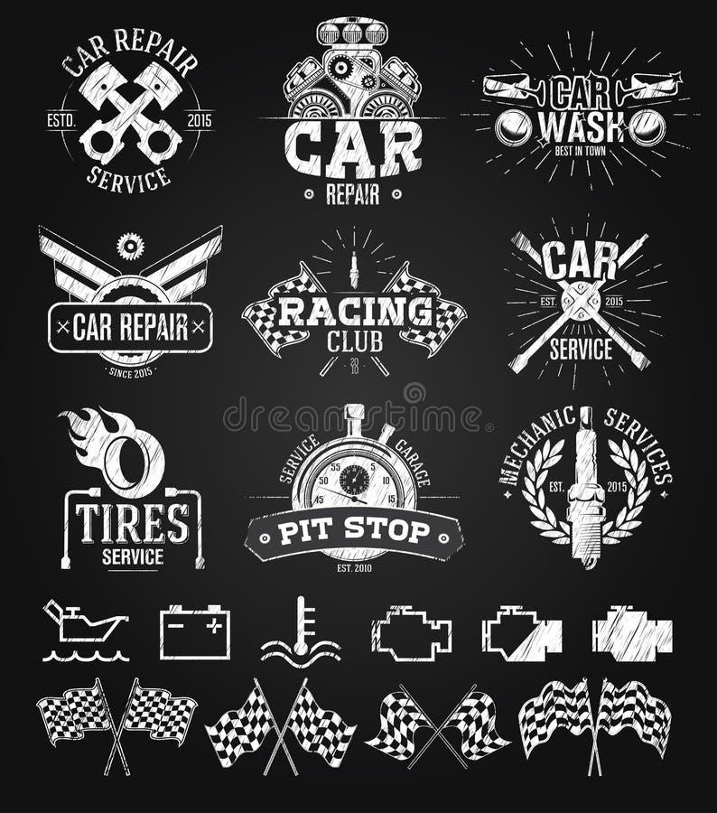 Disegno di gesso delle etichette, degli emblemi e del logos di servizio dell'automobile illustrazione di stock