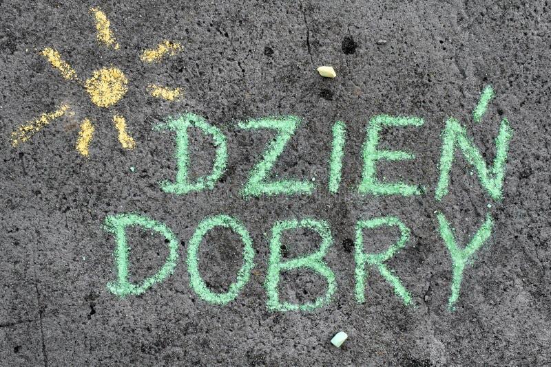 Disegno di gesso: Parole polacche BUONGIORNO fotografia stock