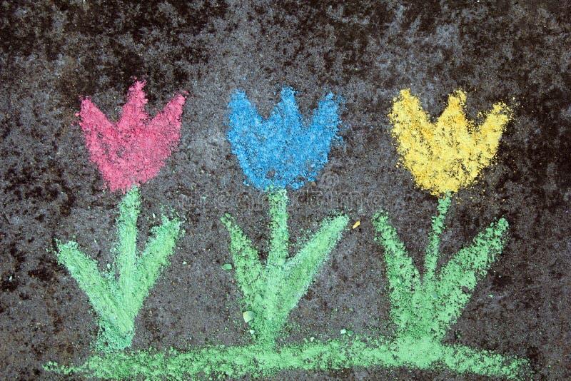 Disegno di gesso: tulipani variopinti fotografia stock libera da diritti