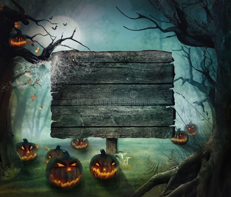 Disegno di Halloween - zucche della foresta royalty illustrazione gratis
