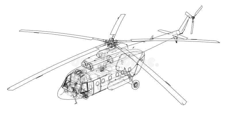 Disegno di ingegneria dell'elicottero illustrazione vettoriale