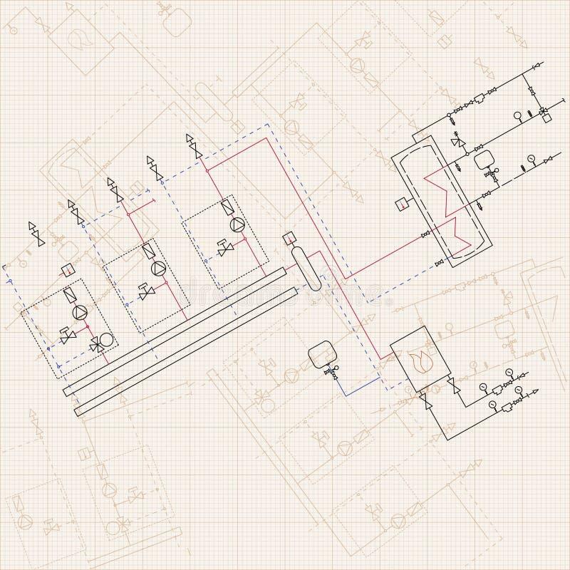 Disegno di ingegneria tecnico Modelli con lo schema di stokehold illustrazione vettoriale