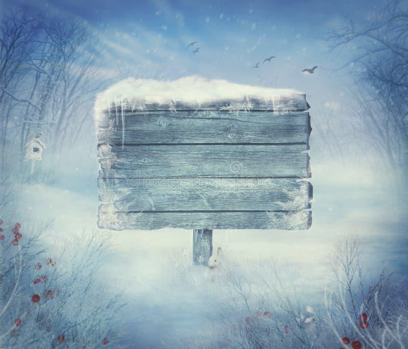Disegno di inverno - valle di natale con il segno fotografie stock libere da diritti