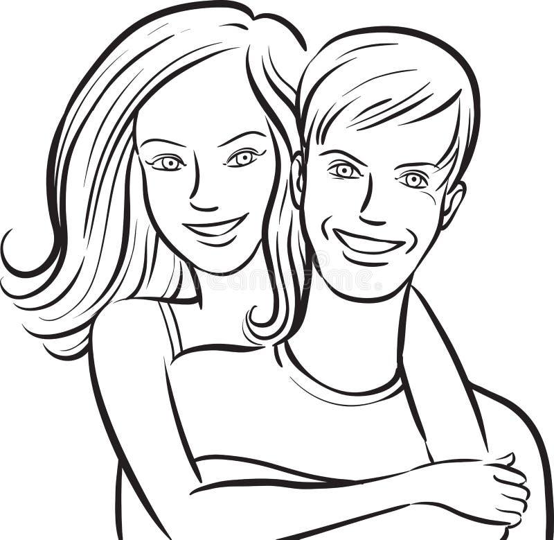 Disegno di lavagna - coppia sorridente felice royalty illustrazione gratis