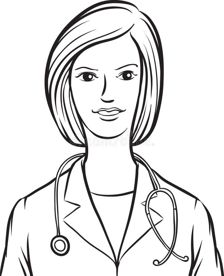 Disegno di lavagna - donna di medico royalty illustrazione gratis