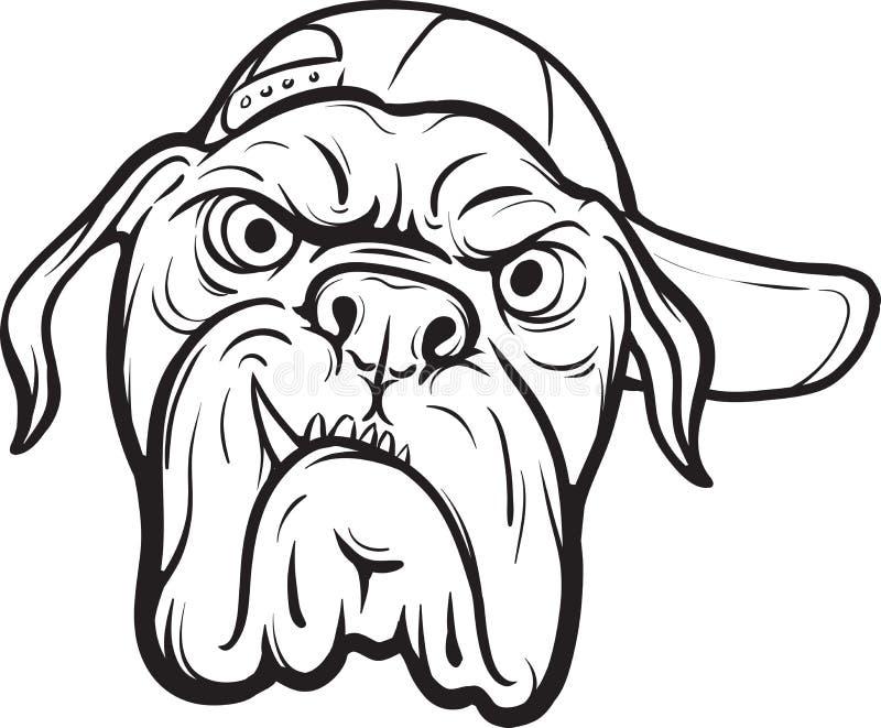 Disegno di lavagna - fronte arrabbiato del cane illustrazione vettoriale