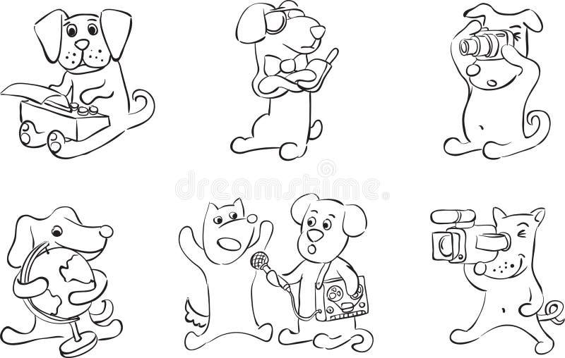 Disegno di lavagna - il fumetto insegue i caratteri illustrazione di stock