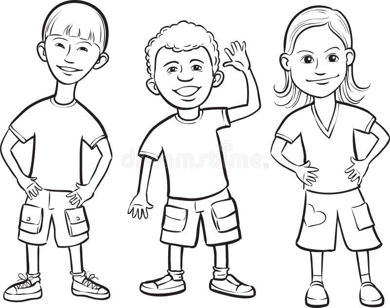 Disegno di lavagna - stare sorridente dei bambini royalty illustrazione gratis