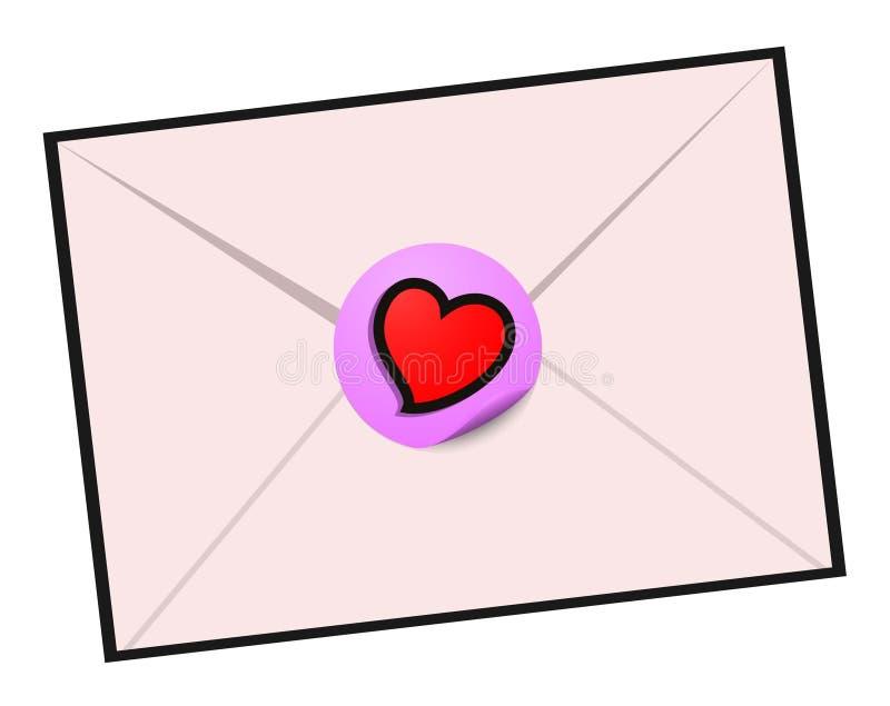 Disegno di lettera di amore illustrazione di stock