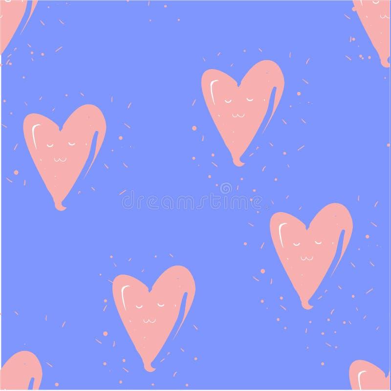 Disegno di lucidità con cuori in blu Sfondo a mano royalty illustrazione gratis