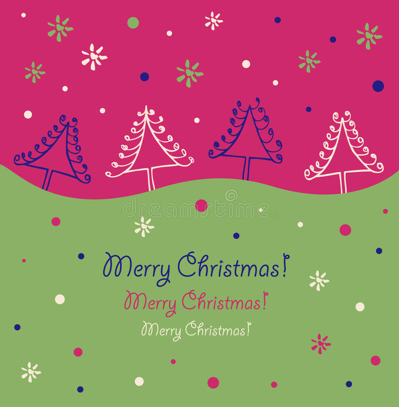 Disegno di natale E Alberi di Natale r illustrazione di stock