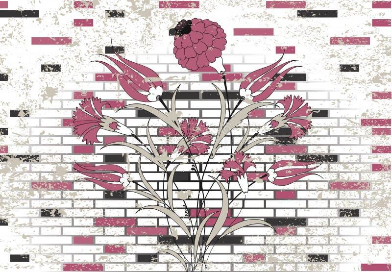 Disegno di pietra del fiore dell'ottomano e del muro di mattoni illustrazione di stock