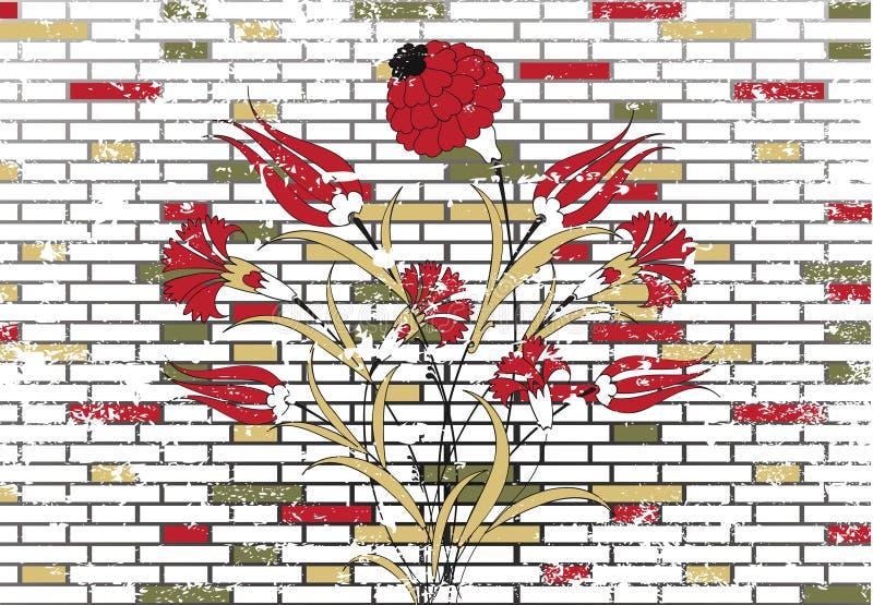 Disegno di pietra del fiore dell'ottomano e del muro di mattoni illustrazione vettoriale