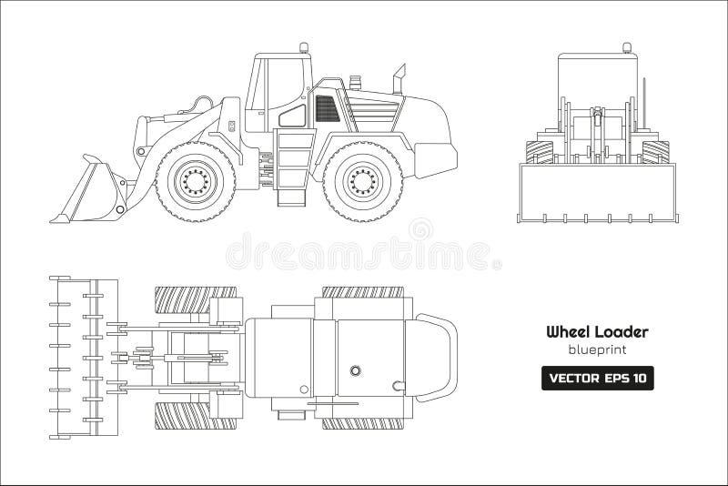 Disegno di profilo del caricatore della ruota su fondo bianco Vista frontale laterale e della cima, Modello scavatore diesel royalty illustrazione gratis