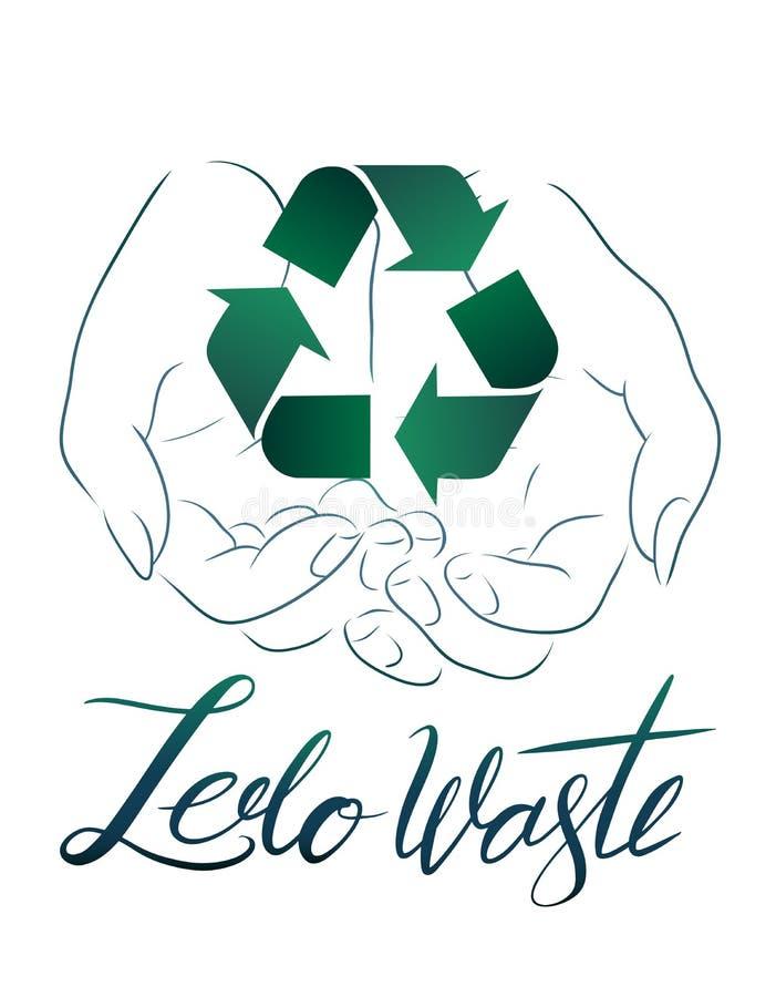 Disegno di profilo delle mani che tengono un segno di riciclaggio con lo spreco zero d'iscrizione disegnato a mano con le foglie  illustrazione vettoriale