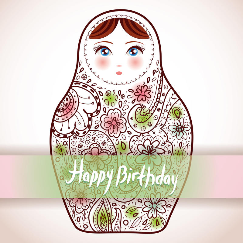 Disegno di scheda di buon compleanno Ske russo di Babushka di matrioshka della bambola royalty illustrazione gratis