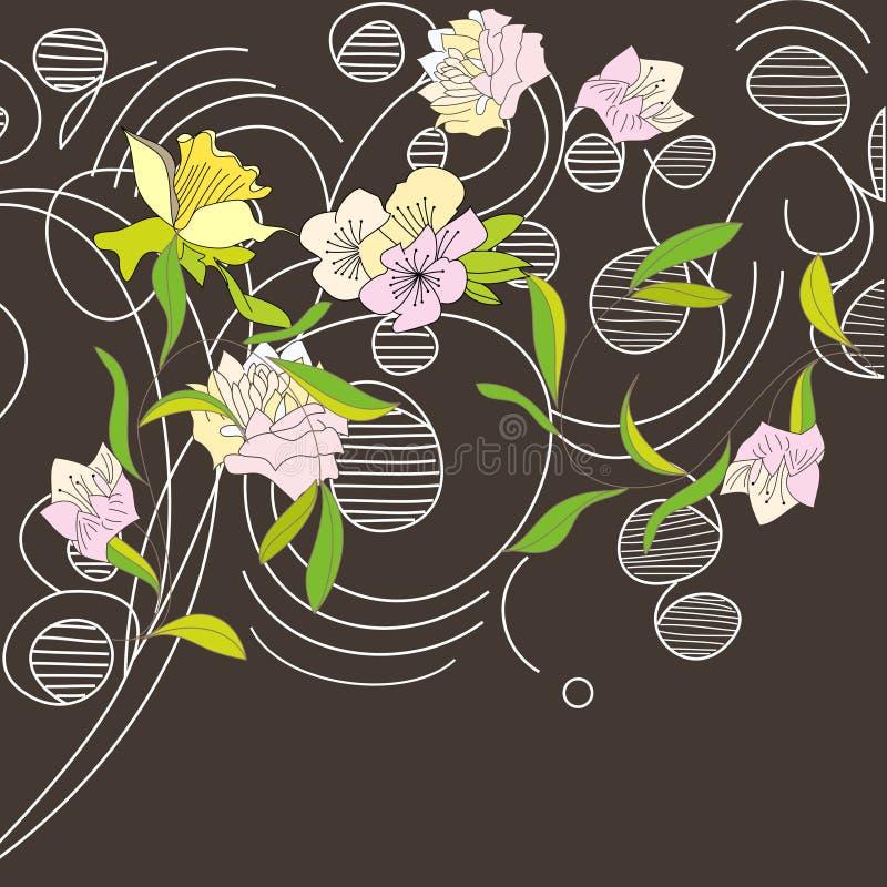 Disegno di scheda floreale illustrazione di stock