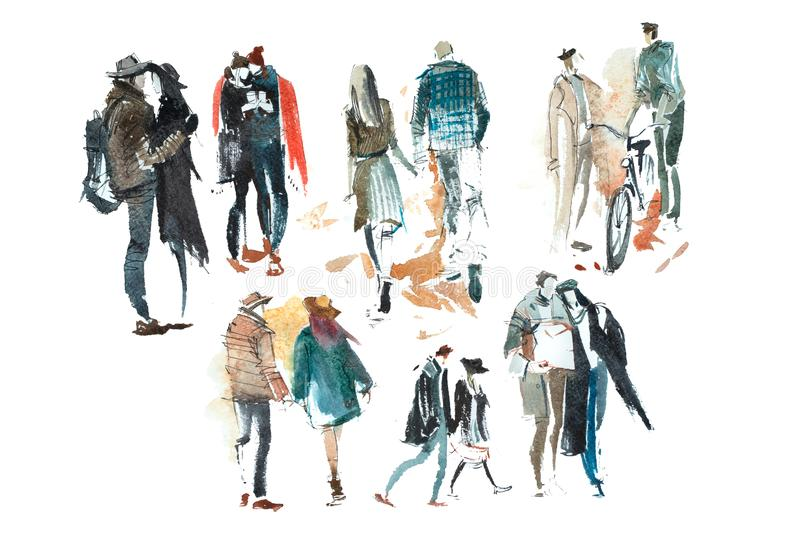 Disegno di schizzo di camminata dell'illustrazione di Autumn Watercolor della tuta sportiva della gente immagini stock