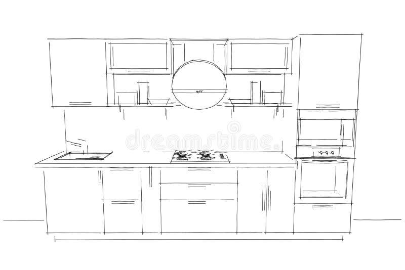 Disegno di schizzo dell 39 interno moderno della cucina 3d for Keuken in 3d tekenen