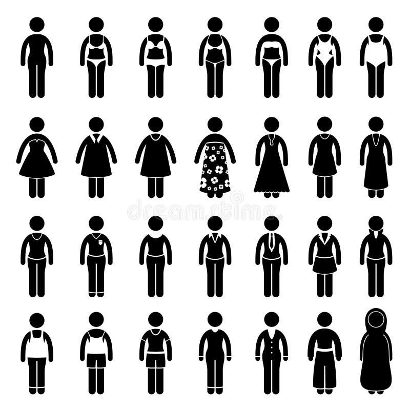 Disegno di stile di modo dei vestiti di usura di donna royalty illustrazione gratis
