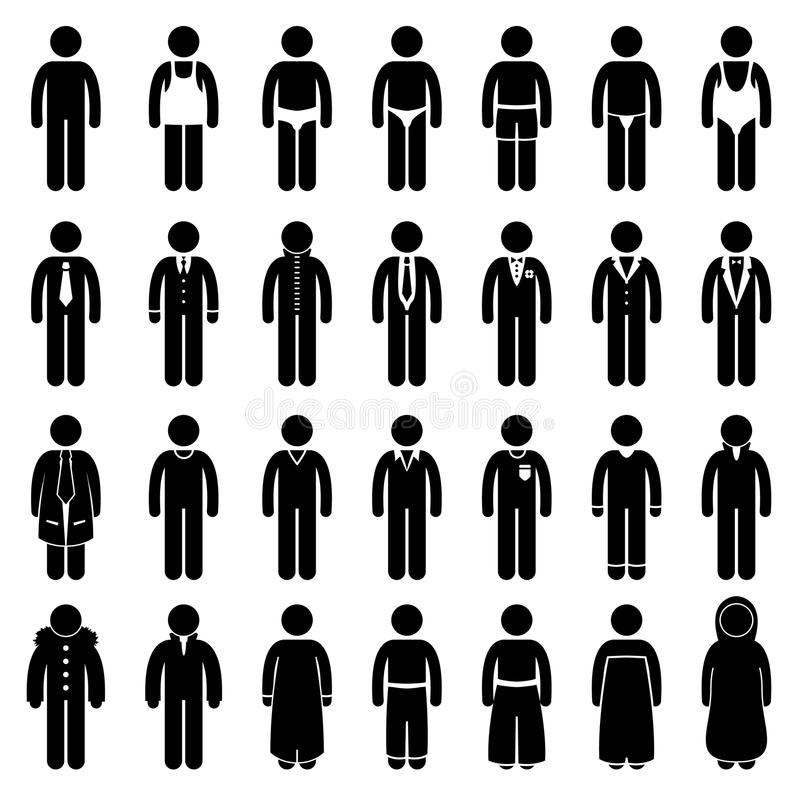 Disegno di stile di modo dei vestiti di usura di uomo illustrazione di stock
