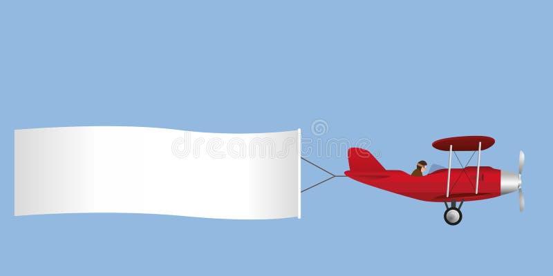 Disegno di un aereo che tira un'insegna bianca illustrazione di stock
