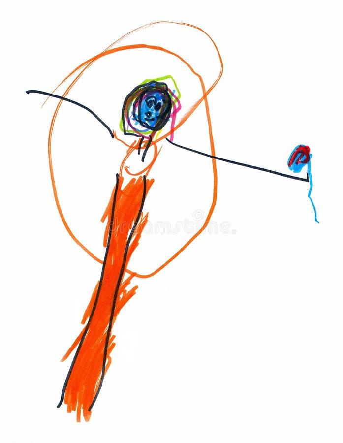 Disegno di un cantante snello dell'artista giovane in vestito rosso con un microfono, le matite e gli indicatori fotografia stock libera da diritti