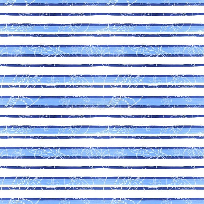 Disegno di un modello senza cuciture su un tema marino, cancro, aragosta, gambero di fiume dell'acquerello, con le bande blu, ond illustrazione di stock