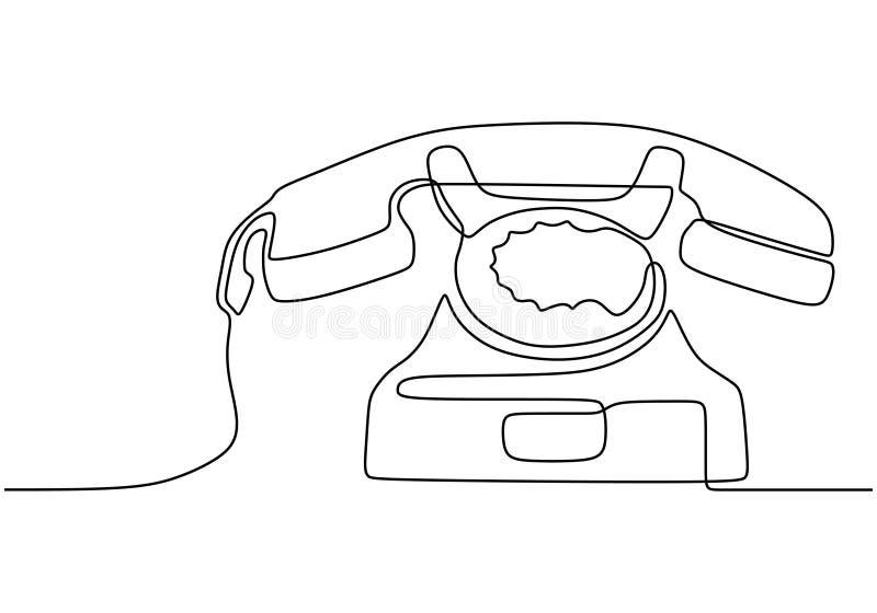 Disegno di una linea del telefono catenato Vector illustrazione di un vecchio oggetto elettronico Ridurre al minimo le emissioni  illustrazione vettoriale