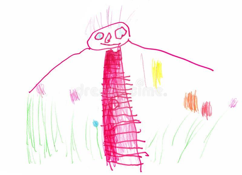 Disegno di una ragazza giovane dell'artista in un vestito che cammina sul campo con i fiori Matite ed indicatori fotografie stock libere da diritti