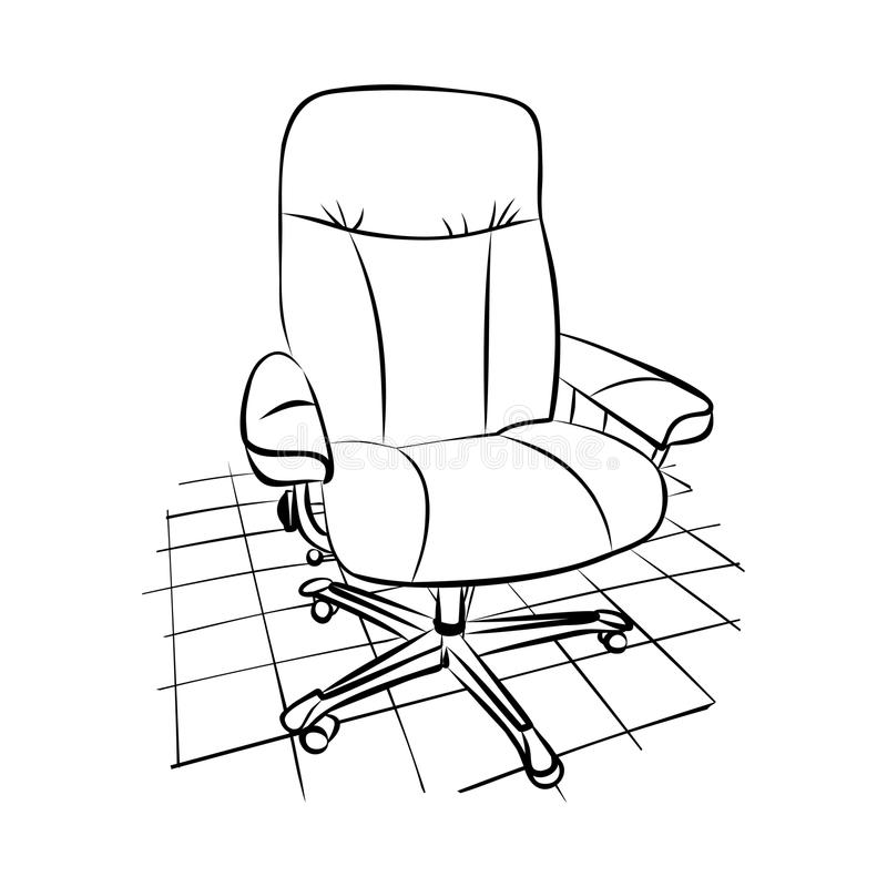 Disegno di una sedia dell'ufficio su un pavimento piastrellato fotografie stock libere da diritti