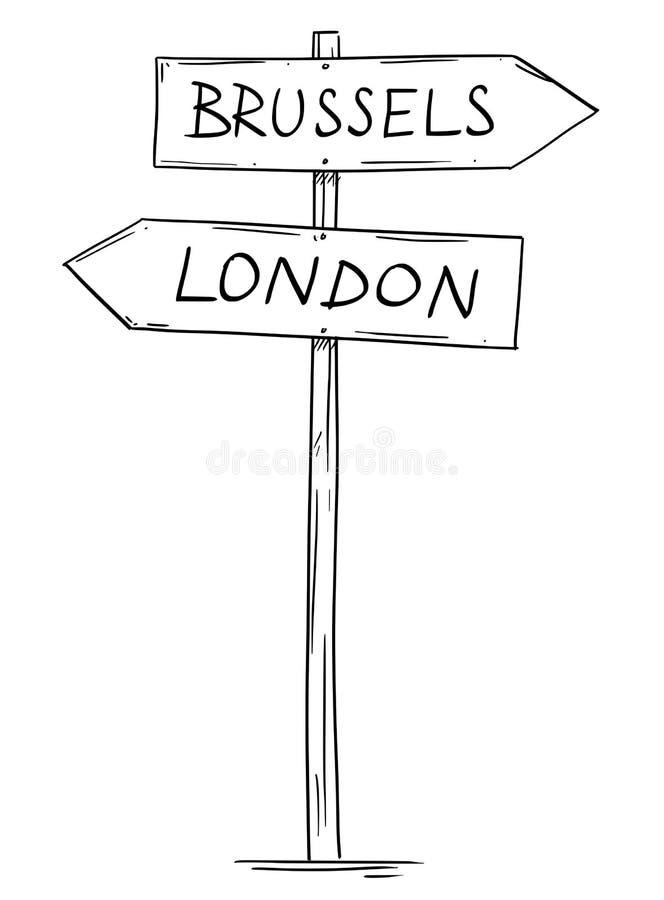 Disegno di vecchio segnale stradale della freccia direzionale due con i testi di Bruxelles e di Londra illustrazione di stock