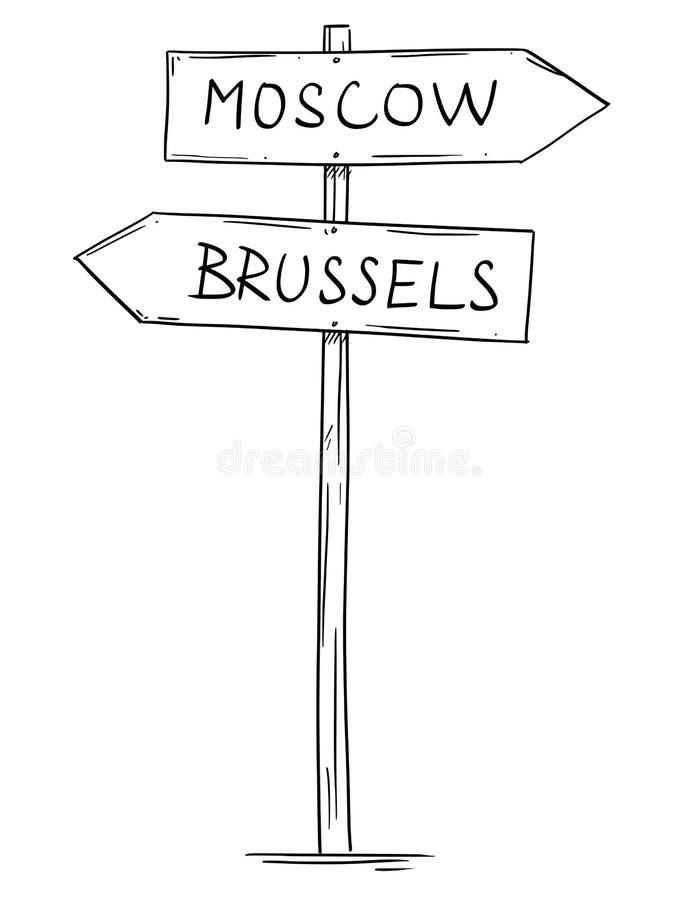 Disegno di vecchio segnale stradale della freccia direzionale due con i testi di Bruxelles e di Mosca illustrazione vettoriale