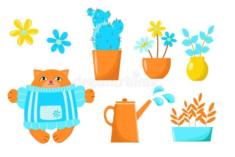 Disegno di vettore che descrive i vasi dei fiori nel giardino e nei gatti Messo per la carta da parati di progettazione, fondo, t illustrazione vettoriale