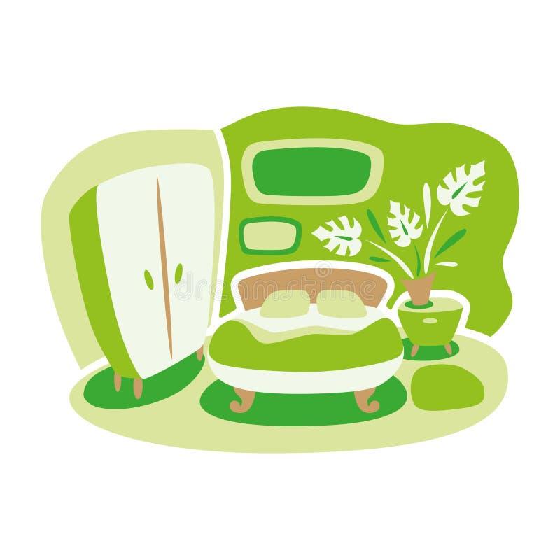Disegno di vettore degli interni domestici bedroom Pace e comodità royalty illustrazione gratis