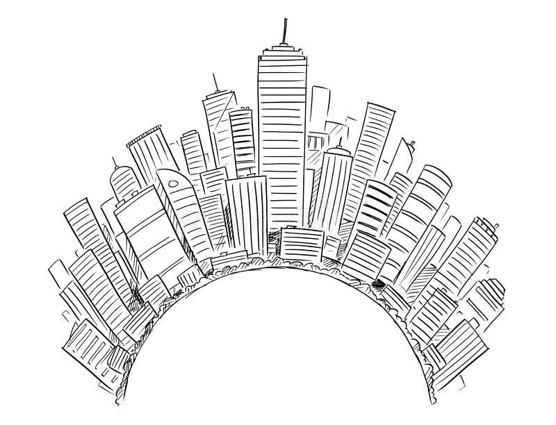 Disegno di vettore dei grattacieli moderni generici intorno al semicerchio o al globo illustrazione vettoriale