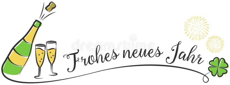 Disegno di vettore del buon anno di Jahr del neuer di Frohes con il vino spumante ed i fuochi d'artificio royalty illustrazione gratis