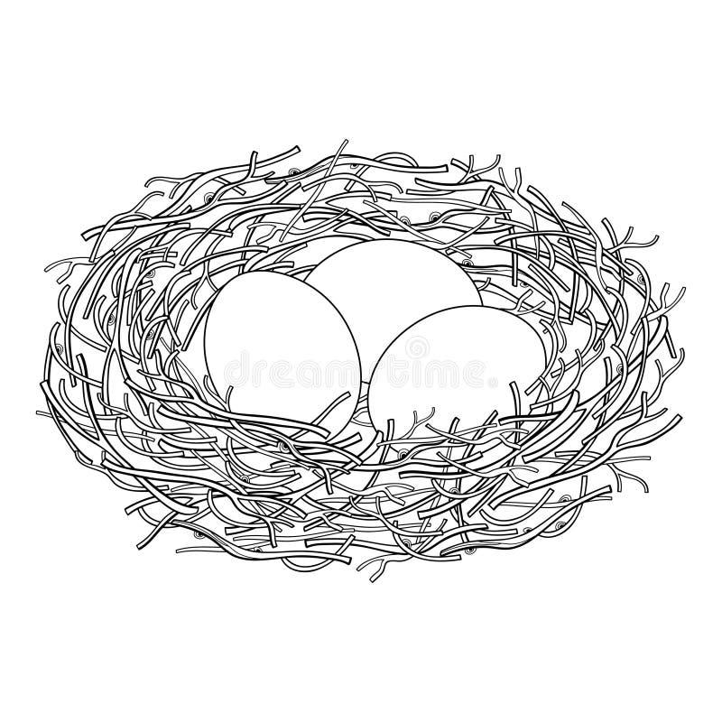 Disegno di vettore del nido dell'uccello del profilo dal ramo con tre uova nel nero isolate su fondo bianco Casa dell'uccello, si royalty illustrazione gratis