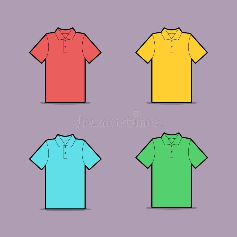 Disegno di vettore della camicia di polo multicolore illustrazione vettoriale